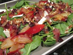 CARAMELIZED PLUM-ONION-BACON SPINACH SALAD ~ Senior brought home plums in bulk. After several days of making little more than a dent in those lovely fruits, I decided to turn some of them into dinner. And so…Caramelized Plum-Onion-Bacon Spinach Salad. Good move! Great taste! Though I opted for chunks of fresh mozzarella and it was tasty, I'm thinking shaved parmesan or crumbled gorgonzola would be right up there with yum.