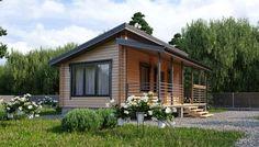 Дом для сезонного проживания, Дом с односкатной кровлей, Недорогой дачный дом