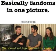 Read Fandoms in One Picture from the story The Life of a Fangirl, Basically by libraryhaunter with reads. All fandoms. Memes Humor, Fandom Memes, Really Funny Memes, Stupid Funny Memes, Funny Relatable Memes, Maze Runner Funny, The Maze Runner, Book Nerd Problems, Fangirl Problems