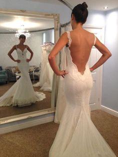 Spaghetti Strap Mermaid wedding dress,Backless  Sexy wedding dress,Trumpet Lace  Wedding Dress, WD17180 - Thumbnail 1