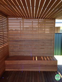 Merbau Screening with seat installed by Top Deck. (03) 9465 9875 www.greenhilltimbers.com.au