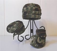 Little Hunter Hat & Boots - camoflauge - baby boy - newborn to 6 mo sizes - made to order. $14.00, via Etsy.