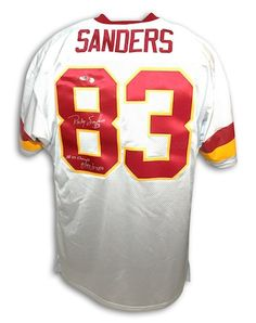 Autographed Ricky Sanders Washington Redskins White Throwback Jersey Inscribed SB 22 Champs and 9/193/ 2 TDs