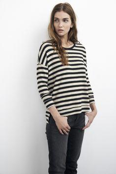 Super Soft Knit Top :: Cozy Jersey Top :: Soft Striped Shirt :: Velvet by Graham & Spencer