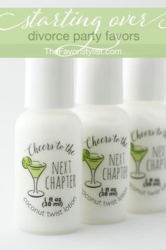 You have to admit, you love those favors that pamper the guests--like these moisturizers in your favorite colors and fragrances. Make a toast to the next chapter, whether it's the start of something or the end. Want to see how we can personalize your party favors so they're just right for your favorite people? Click now! #bridalshower, #partyfavors, #favors, #lingerieparty #divorceparty Breakup Party, Divorce Party, Bridal Shower Favors, Party Favors, Aloe Leaf, Personalized Labels, Tea Cakes, Moisturizers, Bride Gifts