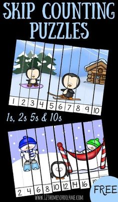 FREE Winter Skip Counting Puzzles for Prek, Kindergarten, and first grade students to practice counting by 1s, counting by 2's, counting by 5's, counting by 10's. This fun math game is perfect for math centers, homeschool, educational activities, and as a foundation for multiplication. #mathforkindergarten