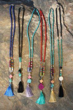 Bohemian Tassel Necklace. Boho Silk Tassel Jewelry. by BohoCircus