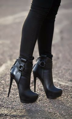 Spike-heeled booties.