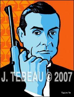 James Bond.(Connery) pop art retro style martini print by John Tebeau #007 #Bond