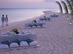Palm Leaves Low Tables And Cushions Lovely Beach Wedding Reception