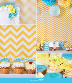 Chevron Turquoise-Yellow Party Theme (You Are My Sunshine)