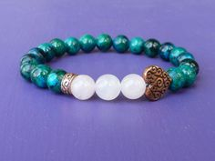 Venus Bracelet in Chrysocolla & Rose Quartz with Copper Heart Accent Bead, Reiki Infused Jewelry