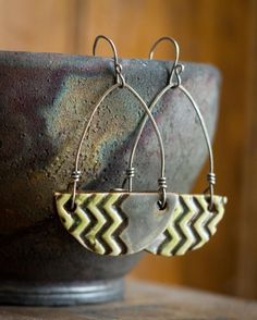 Chevron Yellow and Grey Ceramic Earrings by MicheleClagett on Etsy