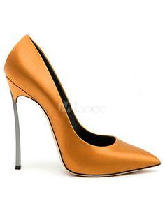 Gold Satin Attractive Womens Pointy Toe Shoes - Milanoo.com Sexy Heels,  Stiletto Heels 8b89ab9bf3
