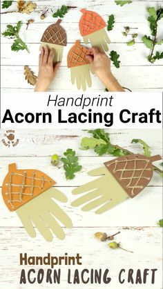 How adorable is this Handprint Acorn Lacing Craft? Acorn crafts are perfect for Autumn and this handprint acorn lets children lace and thread a textured acorn cap while building their fine motor skills in a fun way. A lovely Fall craft and lacing activity Easy Fall Crafts, Fall Crafts For Kids, Kids Crafts, Autumn Activities For Kids, Fall Crafts For Preschoolers, Winter Craft, Craft Kids, Kids Diy, Easter Crafts