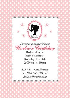 Barbie Party Invitation Etsy.