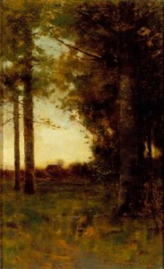"""""""Towards a Clearing - Dusk,"""" Charles Warren Eaton, 1886, oil on canvas, 16 x 10"""", private collection."""