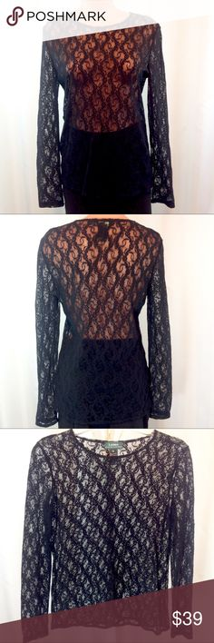"""Ralph Lauren Sheer Black Lace Top Medium EUC Like new! Stunning Ralph Lauren black, all lace, long sleeved top. Completely sheer so pair with your own fave camisole or bralette!  Size Medium. Bust 19"""" across flat. Length 24"""".  🔹Please ask all your questions before you purchase!  🔹Sorry, no trades or holds. 🔹Please use Offer Button! 🔹Bundle for your best prices! Lauren Ralph Lauren Tops Blouses"""