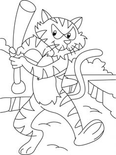 Tiger in a playful mood coloring pages | Download Free Tiger in a playful mood coloring pages for kids | Best Coloring Pages