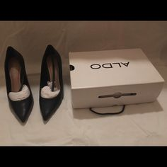 ALDO Pointed Black Leather Heels  Size 8 ALDO Black Leather Heels - Size 8 -- With Box ALDO Shoes Heels