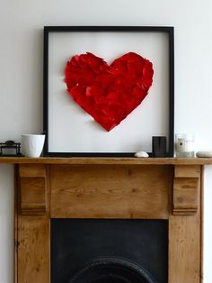 Heart Wall Art --- This could be a great DIY project for a free afternoon or weekend. Love the bold red color! --- Pink, Red, Hearts, Glitter... We have it all! GlittErasable's unique glitter dry erase board would make a wonderful Valentine's gift for someone you love...or just for yourself! Take a look at our sparkly Etsy store: https://www.etsy.com/shop/GlittErasable
