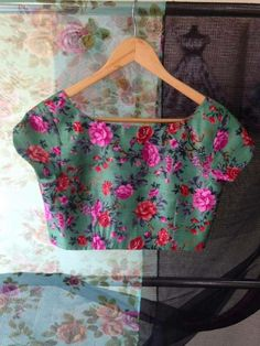 Simple Flower Printed Boat Neck .. mytailor.in