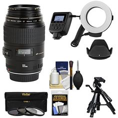 Canon EF 100mm f28 Macro USM Lens with Ringlight  Tripod  Hood  3 Filters Kit for EOS 6D 70D 5D Mark II III Rebel T3 T3i T4i T5 T5i SL1 DSLR Cameras -- You can get additional details at the image link. Nikon, Dslr Cameras, Camera Lens, Canon Zoom Lens, Canon Ef, Iphone 5s, Photo Lens, Fotografia Macro, 70d