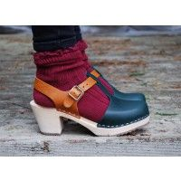 Lotta From Stockholm High heel T-Bar Closed Toe Clogs in Dark Green Leather