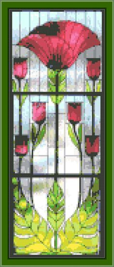 Nouveau Poppy Triptych   Cross-stitch pattern PDF by WhimsyEtc