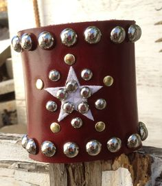 CANDY apple RED leather cuff bracelet with white star by whackytacky, $45.00