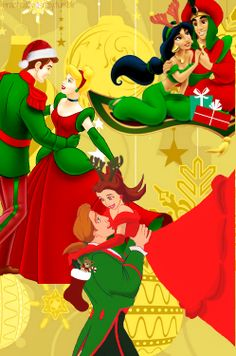 Walt Disney love couples Christmas Beauty and the Beast Belle and Adam, Cinderella and Prince Charming, Jasmine and Aladdin princess princesses prince's Cute Disney, Disney Style, Disney Magic, Walt Disney, Disney Cruise, Disney Merry Christmas, Disney Holidays, Christmas Stickers, Disney Princesses And Princes
