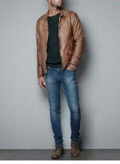 Men's Brown Leather Bomber Jacket, Dark Green Crew-neck Sweater, Blue Jeans…