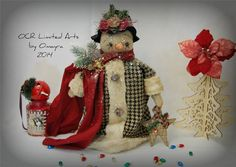 FolK ArT * Mrs GALE SNOW* Lady snowman Christmas Winter Holiday W/ornaments