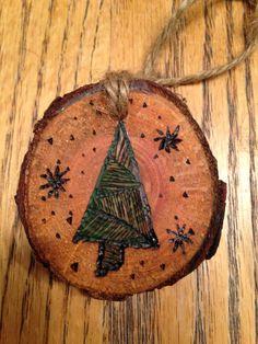 Rustic tree wood burned Christmas ornament - natural wood