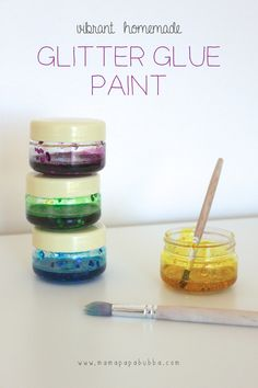 Glitter Glue Paint Vibrant Homemade Glitter Glue Paint -- now that looks like funVibrant Homemade Glitter Glue Paint -- now that looks like fun Projects For Kids, Diy For Kids, Crafts For Kids, Craft Projects, Craft Ideas, Slime, Glue Painting, Homemade Paint, Glitter Glue