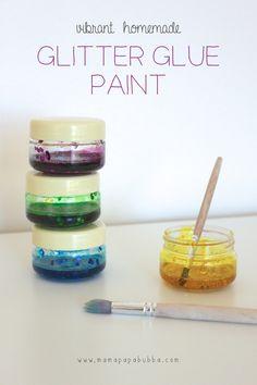 Vibrant Homemade Glitter Glue Paint -- now that looks like fun