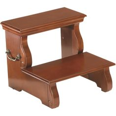Brown cherry finish step stool with brushed brass hardware is both beautiful and functional. Add it to your kitchen today.