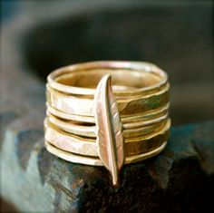 Stacking Rings-Brass Feather. $45.00, via Etsy.