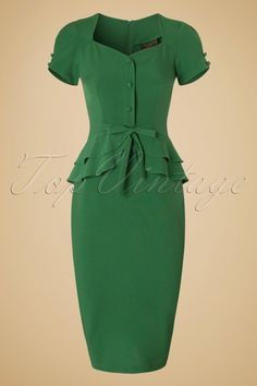Rosemary Peplum Dress in Vintage Green : Stop Staring Green Rosemary Bow Pencil Dress 100 40 19483 20160701 African Fashion Designers, African Fashion Dresses, Hijab Fashion, Fashion Outfits, Green Party Dress, Green Dress, Dress Party, Dress Brukat, Mode Vintage