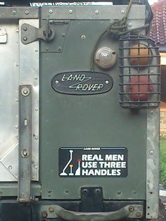 Great sticker #LandRover....i'd like a real man....:-)