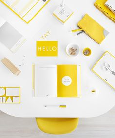 Brighten up and add some stylish colour with our Hello Yellow stationery collection