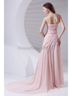 Chiffon Sweetheart Chapel Train A-line Prom Dress