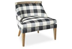 Sarah Accent Chair, Dark Gray Gingham