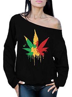 Awkward Styles Women's Rasta Leaf Off The Shoulder Tops for Women Sweatshirts Marijuana Leaf Pot Leaf