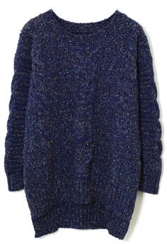 Navy Blue Cable knit Sweater. Big and comfy