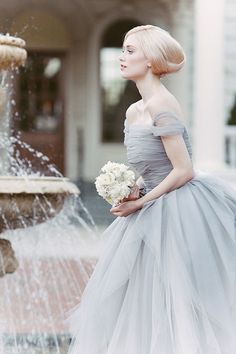 BLUE Wedding: Blue Tulle Dusty Wedding Dress