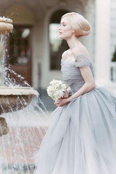 BLUE Wedding: Blue Tulle Dusty Wedding Dress