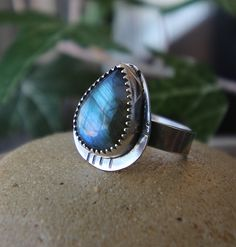 Labradorite Sterling Silver Ring, Blue Flash, Natural Labradorite, Silver Jewellery by NeshikotJewelry on Etsy https://www.etsy.com/ca/listing/479548241/labradorite-sterling-silver-ring-blue