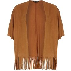 Dorothy Perkins Tan fringe suedette cardigan ($22) ❤ liked on Polyvore featuring tops, cardigans, brown, fringe cardigan, fringe top, elbow length tops, elbow sleeve cardigan and brown cardigan