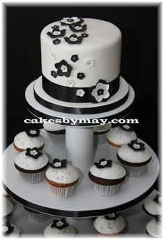 I really like this cake idea. Cupcakes might be hard and messy but the cake is cute with them